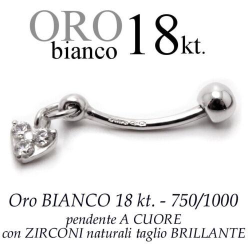 Piercing ombelico belly ORO BIANCO 18kt.motivo a CROCE zirconi taglio BRILLANTE