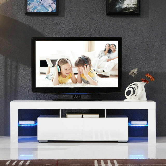 High Gloss White TV Stand Unit Cabinet With LED Light 2 Draw