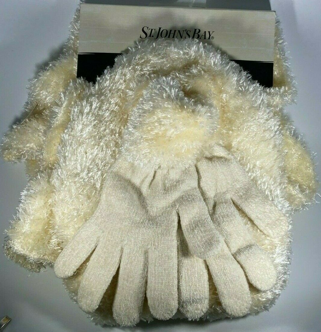 ST. JOHN's BAY - FEATHER & CHENILLE 3 -Piece SET * SCARF HAT GLOVES WHITE NEW