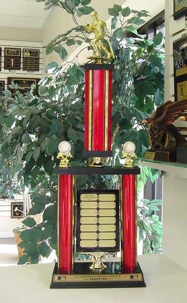 FANTASY BASEBALL AWESOME AWESOME AWESOME NEW LARGE TWO POST TROPHY 14 YEAR PERPETUAL AWARD  58701c