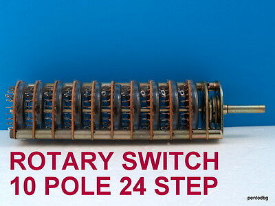 ROTARY SWITCH FOR CNC OR ATTENUATOR 10 POLE 24 STEP RFT GERMANY  RARE