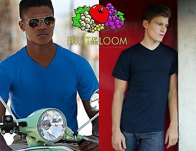 STOCK pezzi 5 FRUIT OF THE LOOM maglietta t-shirt COLLO A V manica corta 7 color