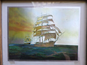 Vintage Dufex Prints Sailing Ships Foil Art In Frame Nautical Decor Wall Art Ebay