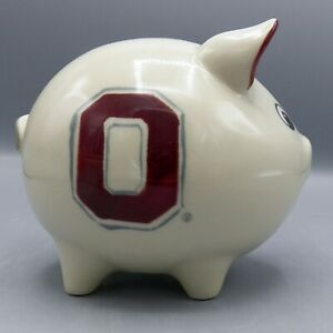Hartstone-Ohio-State-Piggy-Bank-Block-O-Logo-Buckeye-OSU-Pottery-AS-IS-Chip