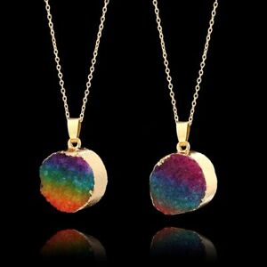 Druzy-Quartz-Necklace-Gold-Plated-Chain-Rainbow-Crystal-Pendant-Natural-Stone