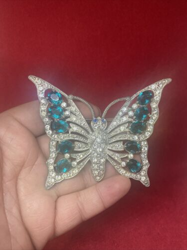Vintage Large Butterfly Green Rhinestone Silver To