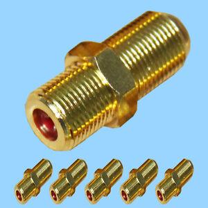 10x f verbinder vergoldet f buchse f buchse sat kabel verl ngern kupplung st ck ebay. Black Bedroom Furniture Sets. Home Design Ideas