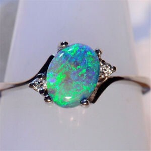 Women-Jewelry-925-Silver-Green-Fire-Opal-Gems-Wedding-Engagement-Ring-Size-6-10