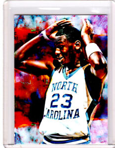 2021 Michael Jordan North Carolina Tarheels 1/1 Art ACEO Print Card By:Q