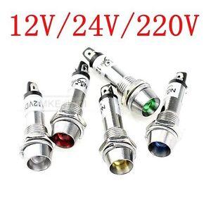 8mm-LED-Leuchtmelder-Kontrollleuchte-Signalleuchte-Signallampe-12V-24V-220V