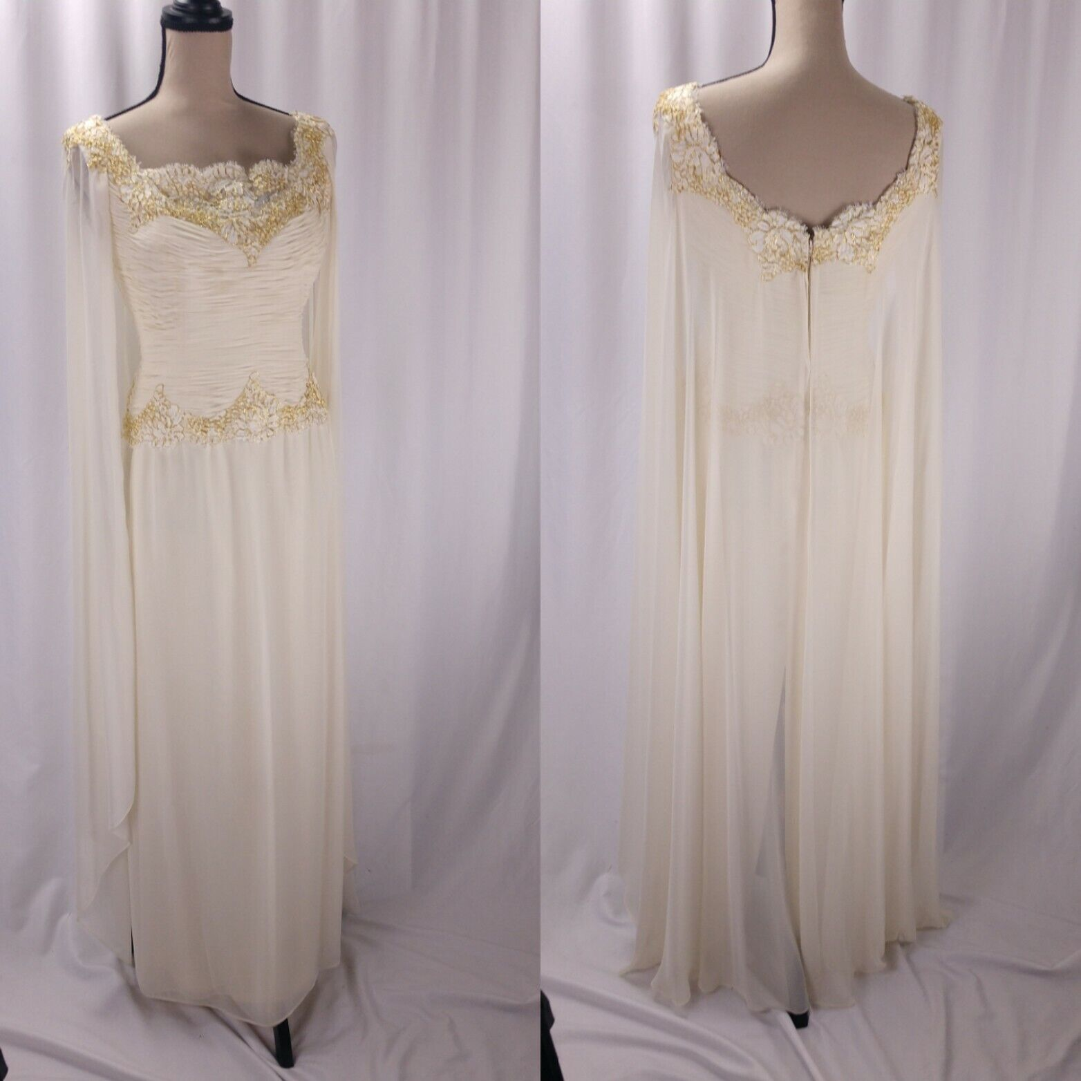 Vintage Chris Kole Cape Sheath Dress Size S Ivory gold Lace Trim Grecian Bridal