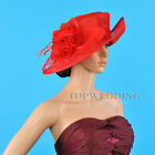 HOT Lady Wedding Church Hat Horse Races Kentucky Derby Formal Wide Brim Red Hat