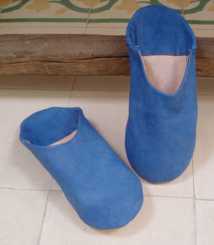 VERY SOFT LEATHER SLIPPERS / MULES * Azul Talla Talla Azul 9/43 from Morocco 9685ee