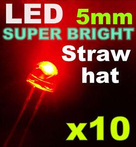 454/10# LED 5mm Grand angle rouge + résistance 10pcs