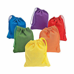 12 pc Assorted Colorful Neon Drawstring Nylon Gift Bags Loot Sack Party Favors
