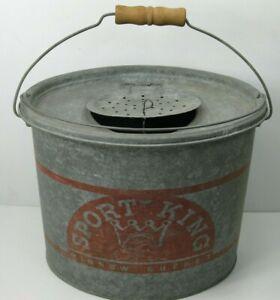 Vintage-Sport-King-Oval-Minnow-Bucket-Wood-Handle