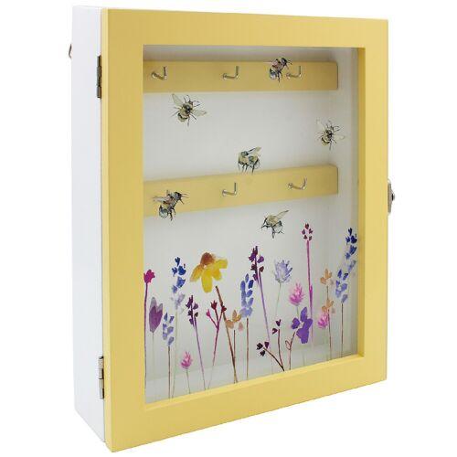 Busy Bee design en bois 6 Clé Titulaire Crochet Armoire Boîte de rangement maison clés Organisateur