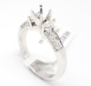 14k White Gold SI1,H 0.44tcw Three Stone Engagement Accent Semi Mount Ring 7