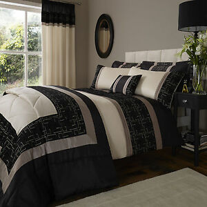Catherine Lansfield Geo Embroidered Black Gold Duvet Quilt Cover
