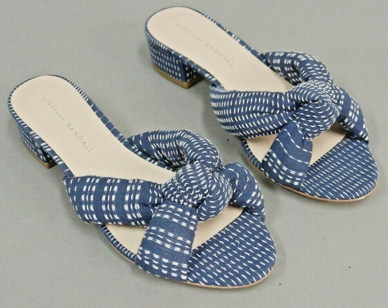Loeffler Randall Elsie anudada diapositiva Sandalia Zapatos Zapatos Zapatos Azul Marfil Talla  9  entrega gratis