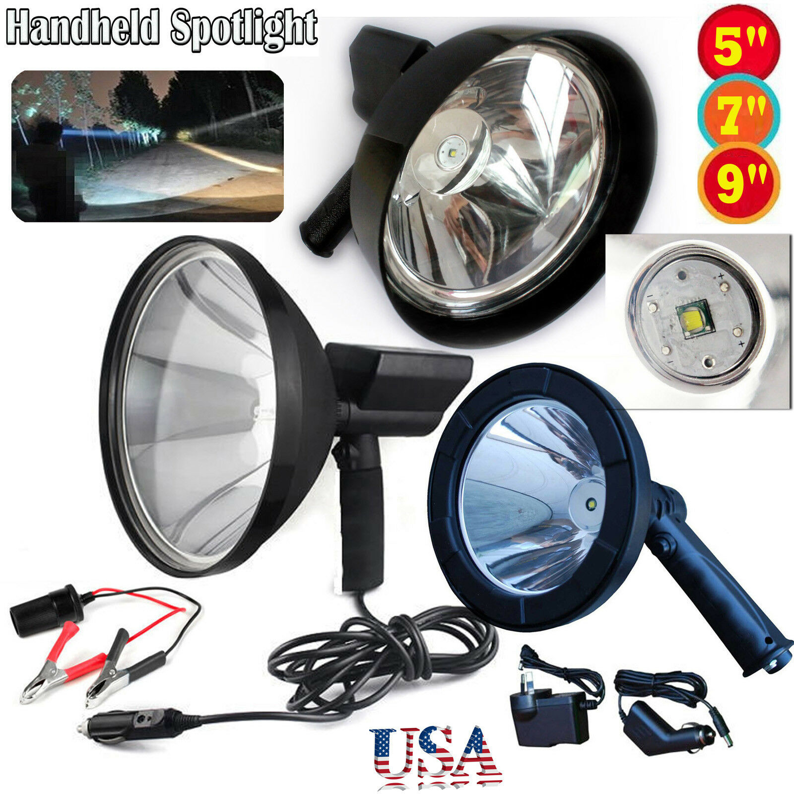 5 7 9 Inch Spotlight Handheld Rechargeable Light Flashlight 500W Camping Hunting