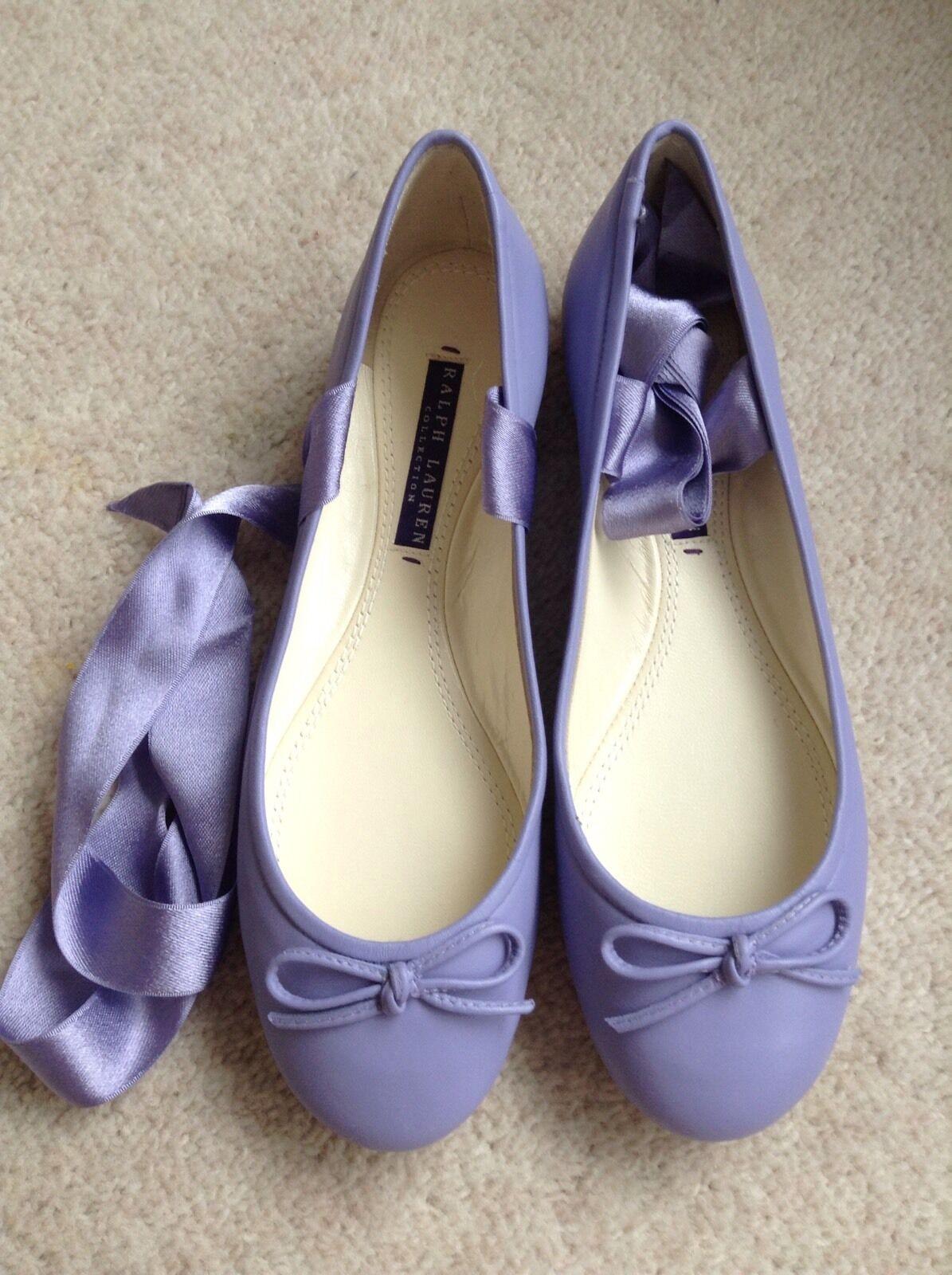 Ralph Lauren lila label leather ballerinas Größe UK 5.5 EU 38.5   NEW