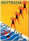 "Vintage Illustrated Travel Poster CANVAS PRINT Australia Surf Club 8""X 12"""