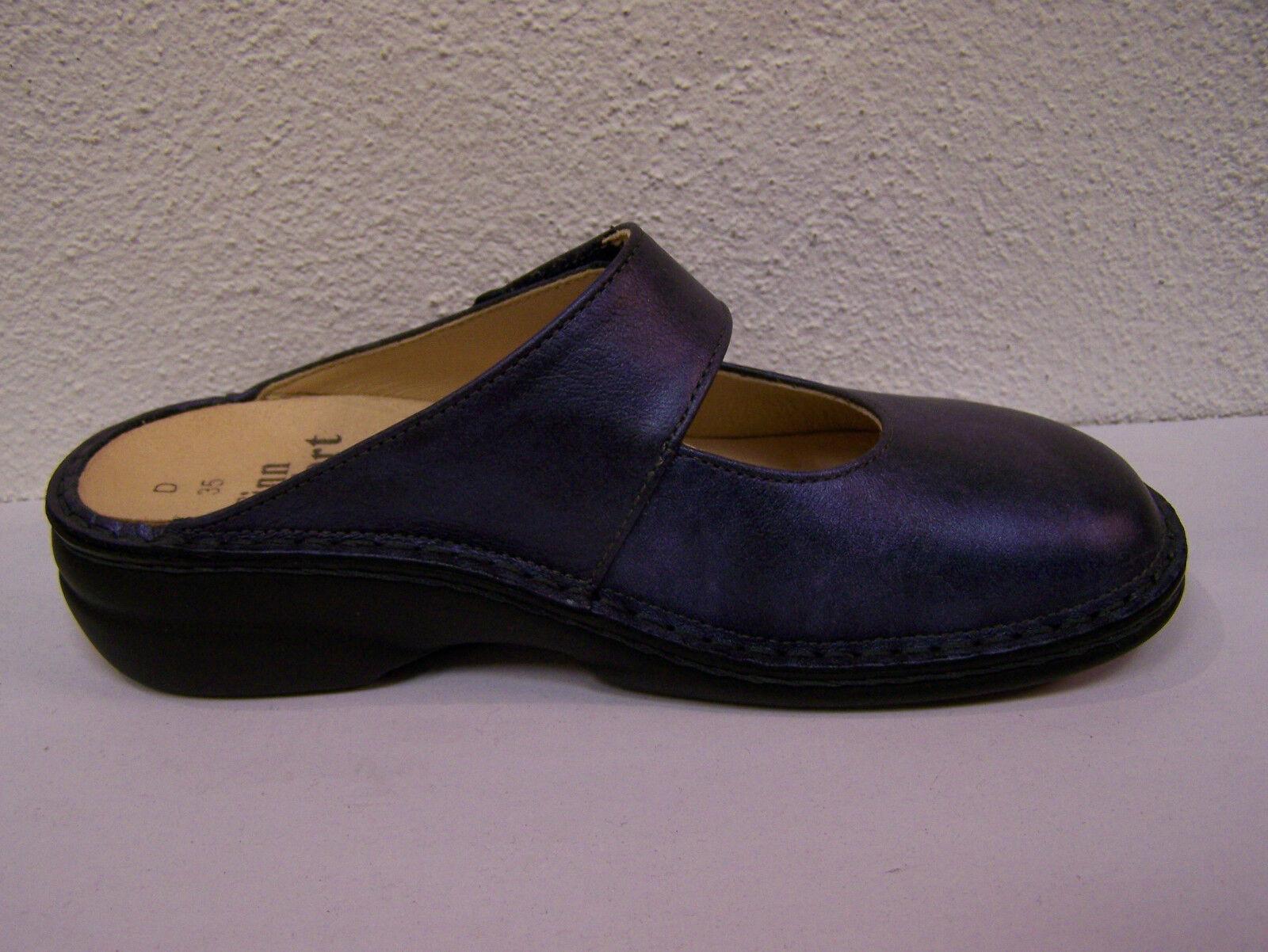 Finn Comfort Stanford Schuhbeutel blau metallic incl. Baumwoll Schuhbeutel Stanford Wechselfußbett 1d76b4