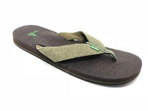 6afcebd4040ee SANUK M YOGI 4 Olive WEAVE flip flop sandal size 9 Thongs Shoes ...