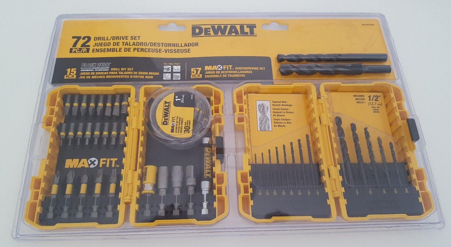 DeWALT New MaxFit Drill Drive Set 72pcs free shipping