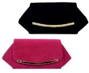 Damen-72983-samt-Clutch-Tasche-Erhaltlich-in-Schwarz-und-Rosa-Einzelhandel-Preis