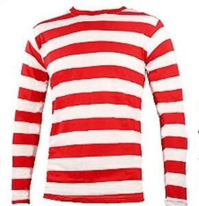 LONG-SLEEVE-RED-amp-WHITE-STRIPED-MENS-T-SHIRT-ROCK-PUNK-BAND-MUSIC