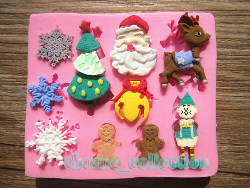 3D Christmas Theme Fondant Silicone Mold Sugarcraft Cake Decorating Tool Moulds