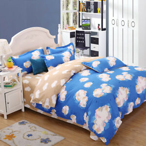 Stylish-Blue-With-Brown-With-Abstract-Cloud-Pattern-4PC-Bed-Set