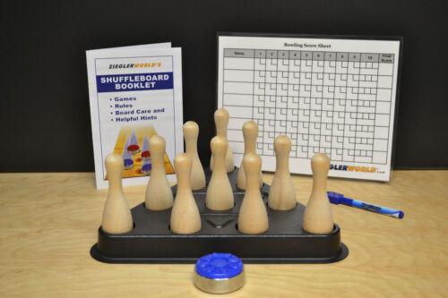 SHUFFLEBOARD TABLE BOWLING BROWN PINS+REGULATION PINSETTER+CHART+BAG PUCK+BONUS