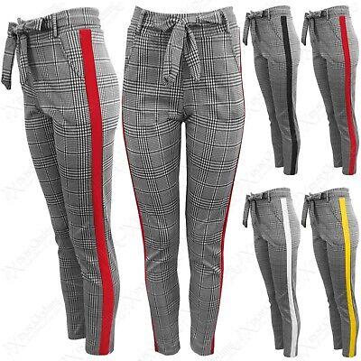 FäHig Ladies Mono Check Print Trousers Side Stripes Womens Leggings Tie Waist Pants