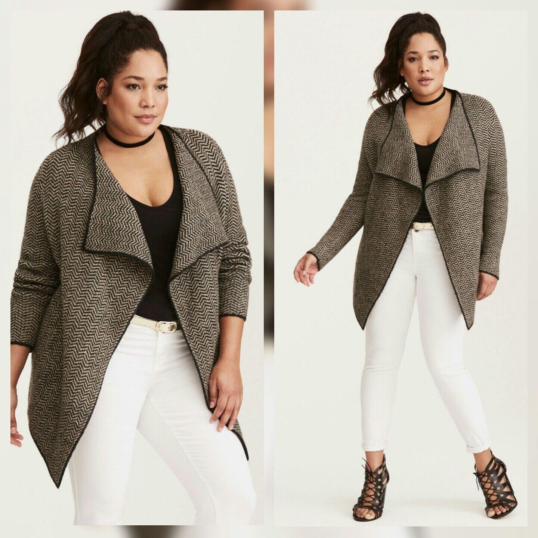24d1c845c2678 NWT Torrid Plus Size Chevron Pattern Draped Cardigan (20-31) 5 5X  nwocvw1681-Sweaters