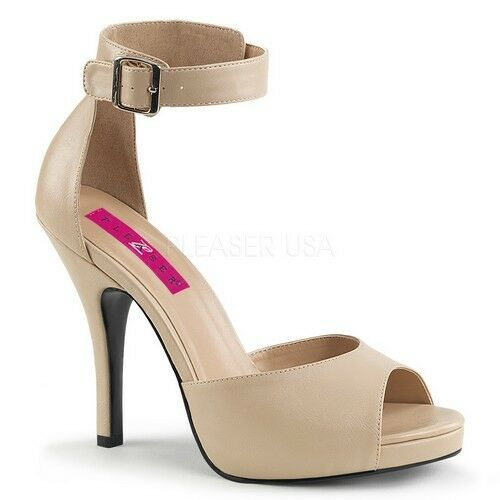 Pleaser EVE-02 damen Cream Faux Leather Platform Platform Platform Closed Back Sandals High Heels 46895e