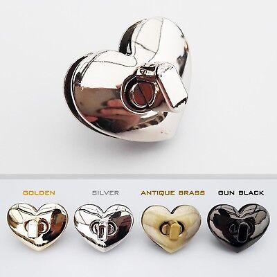 Silver 5Pcs Purse Locks Heart-shaped Purse Twist Turn Locks Button Closure Clasp Lock Leathercraft Accessory