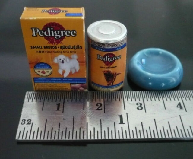 The Dogs Blue Dinner Dollhouse Miniatures Pet Food Packets Supply Deco