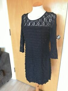 Ladies-Dress-Size-14-M-amp-Co-Black-Stretch-Tiered-Party-Evening-Cruise-Occasion