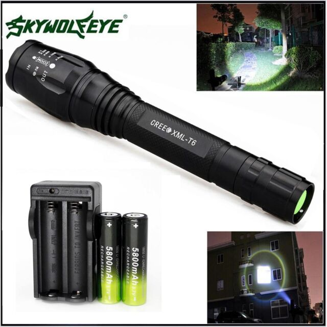 Tactical Zoomable 20000LM 5-Mode XMLT6 LED Flashlight Torch Light+18650 &Charger