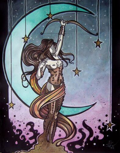 Gothic Artemis w// moon stars bow comic fantasy art CANVAS PRINT