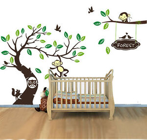 Mega large monkey Tree owl Wall Art Stickers Kids Nursery Vinyl Decal removable