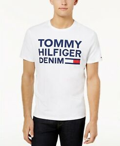 115-Tommy-Hilfiger-Men-White-Blue-Red-Logo-Crew-Neck-Short-Sleeve-Tee-T-Shirt-L