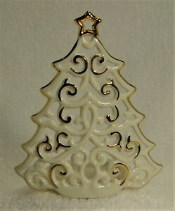 LENOX BRIGHT CHRISTMAS TREE Votive Pierced Tree with Gold Trim #760569 NM