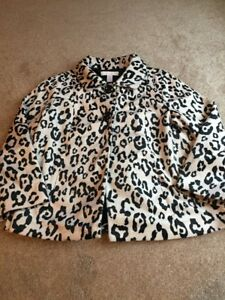 Leopard 0 Button størrelse Lined s Coat Velour Black Print Animal Swing Ivory Chico Eq0zn11