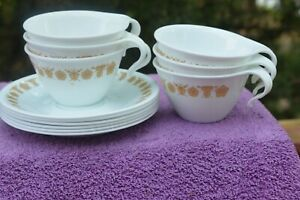 Set of 6 Butterfly Gold Pyrex Cups and Corelle Saucers - Excellent Condition