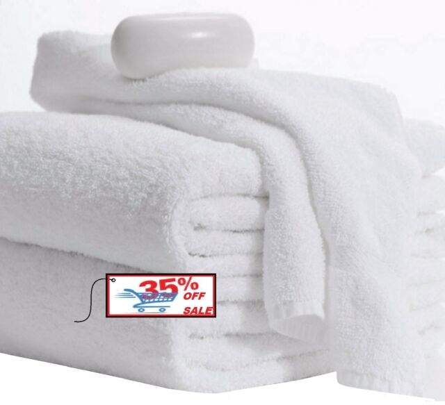 Bath Towels 2 Pack 24x48 Inches White 10lbs 100 Cotton Gym Salon Spa