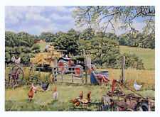 Watching Oliver at Work Beautiful Picture Painting Country Poster Tractor Hens